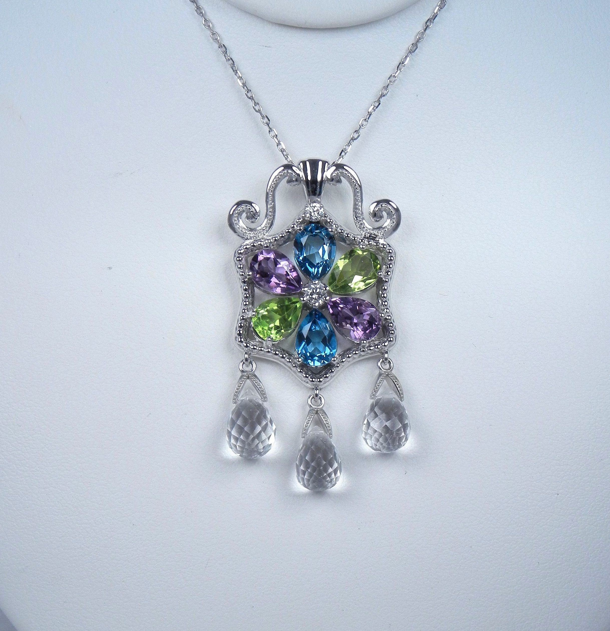 14k white gold multi gemstone diamond necklace kt diamonds